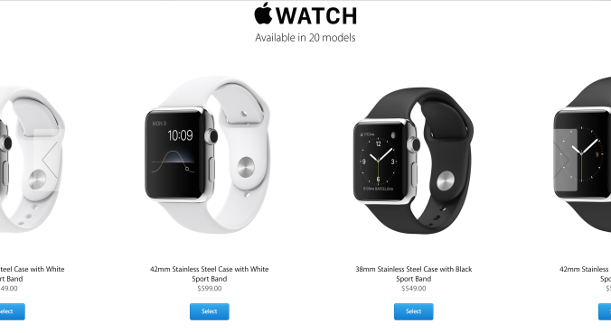 Unlike the Sport model, the more expensive sterling silver Apple Watch can be built-order with either a black or white band.